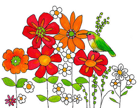 Hummingbird and Flowers by Blenda Studio