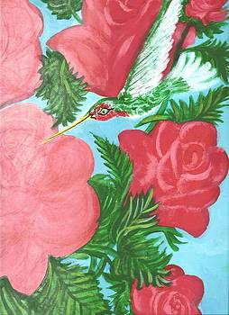 Hummingbird and Roses by Richard Erickson