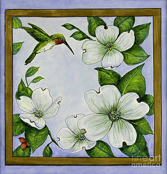 Hummingbird in the Dogwood Blossoms by Gail Darnell