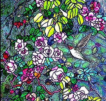 Hummingbird Tiffany Style by Norma Boeckler