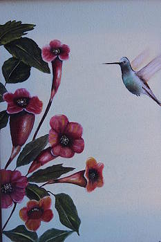 Hummingbird with Flowers by Christine McMillan