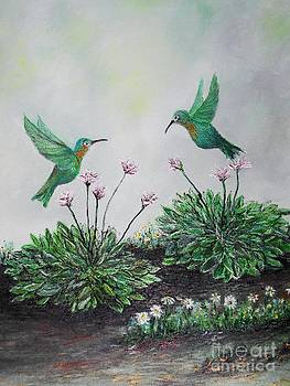 Hummingbirds and Hostas by Rhonda Lee