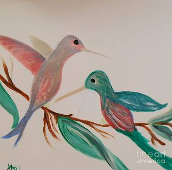 Hummingbirds Two by Marie Bulger