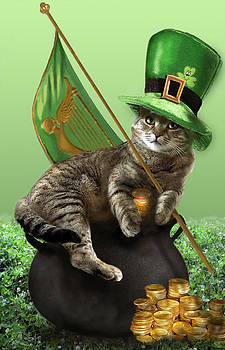St. Patrick's day Irish cat sitting on a pot of gold by Regina Femrite