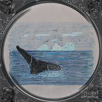 Barbara Griffin - Humpback Whale Tail and Icebergs - Porthole Vignette