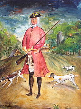 Hunter with his foxhounds by Egidio Graziani