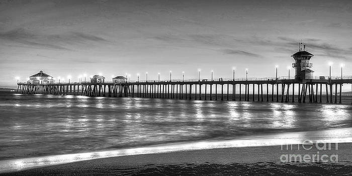 Huntington Beach Pier Twilight - Black and White by Jim Carrell