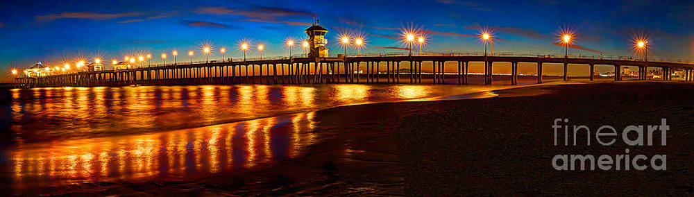 Huntington Beach Pier Twilight Panoramic by Jim Carrell