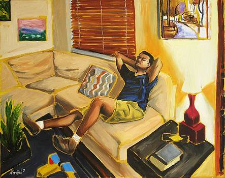 Husband on Couch by Rivkah Singh