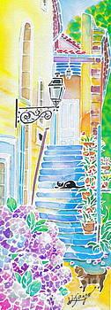 Hydrangeas and the hotel by Hisayo Ohta