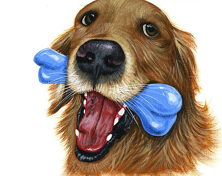 Amy Giacomelli - I Live to Fetch...Golden Retriver Art Painting
