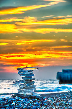 Ice Candle - Lake Michigan - North of Chicago V by Michael  Bennett