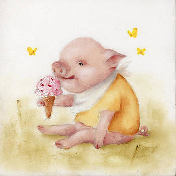 Ice Cream Pig Painting  by Junko Van Norman