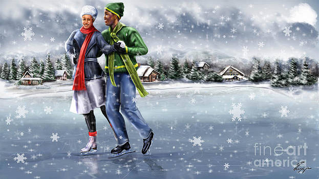 Ice Dancing On The Lake by Reggie Duffie