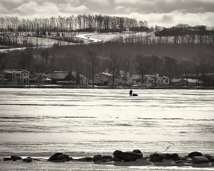 Ice Fisherman on Canandaigua Lake 2010 by Joseph Duba