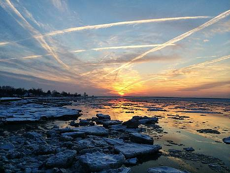Ice on the Delaware River by Ed Sweeney