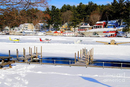 Planes On The Ice Runway In New Hampshire by Eunice Miller