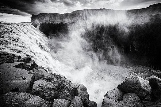 Iceland Dettifoss waterfall black and white by Matthias Hauser