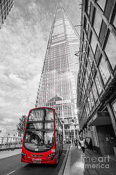Ian Monk - Iconic Red London Bus with The Shard - London - Selective Colour
