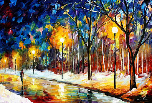 Icy Path 2 - PALETTE KNIFE Oil Painting On Canvas By Leonid Afremov by Leonid Afremov