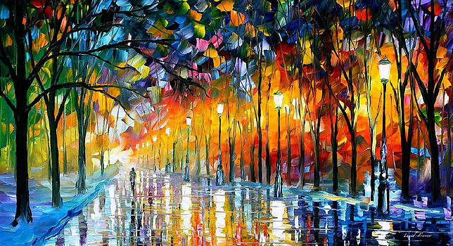 Icy Reflections - PALETTE KNIFE Oil Painting On Canvas By Leonid Afremov by Leonid Afremov