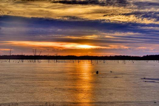 Icy Sunset 1 by Larry Bodinson