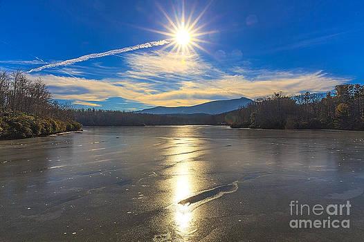 Icy Sunset at Price Lake by Robert Loe