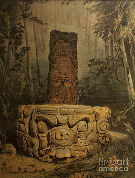 John  Mitchell - Idol and Altar at Copan by Frederick Catherwood