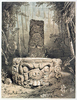 Frederick Catherwood - Idol and altar at Copan