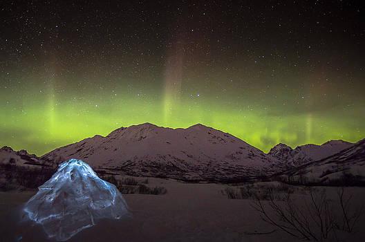 Igloo and Alaska Northern Lights  by Sam Amato