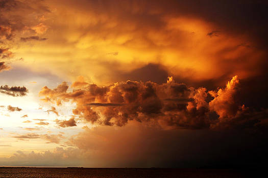 Impending Storm at Sunset over Gulf of Mexico Dunedin Florida by Robin Lewis