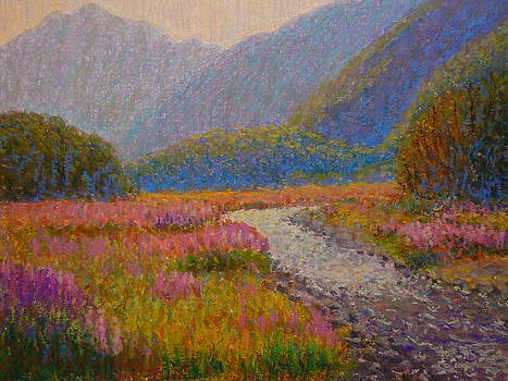 Impression Lupins Cascade Creek by Terry Perham