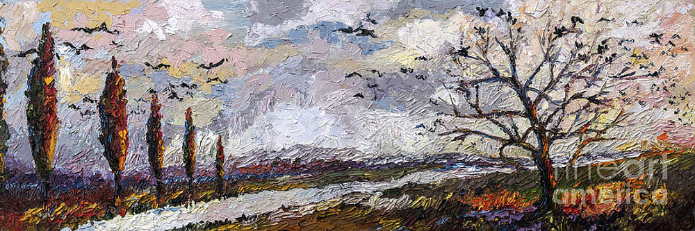 Ginette Callaway - Impressionist Autumn Panoramic Landscape Bird Migration