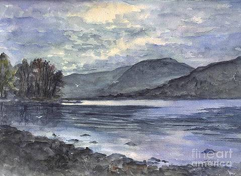 Derwent Water England In The Glowing Moonlight by Carol Wisniewski