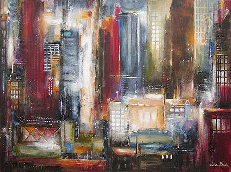 In the Loop - Chicago at Night by Kathleen Patrick