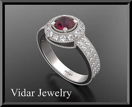 Incredible Red Ruby And Diamond 14k White Gold Engagement Ring by Roi Avidar