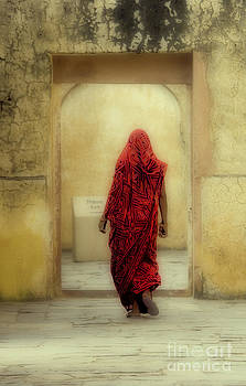 India The Woman in Red Jaipur Rajasthan by Neville Bulsara