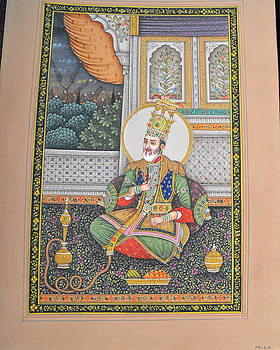 Indian miniature painting on carton featuring the emperor Akbar by Anonymous Indian artist