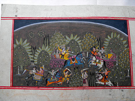 Indian miniature painting on heavy paper representing a battle scene by Anonymous Indian artist