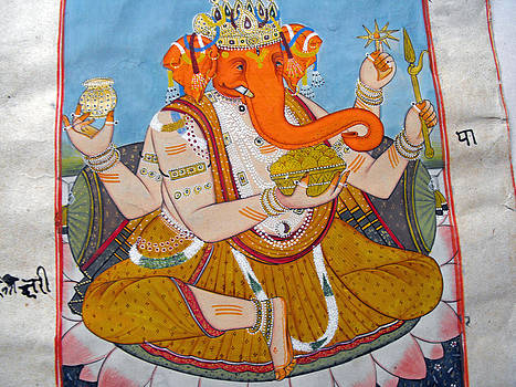 Indian miniature painting on heavy paper representing Lord Ganesha by Anonymous Indian artist