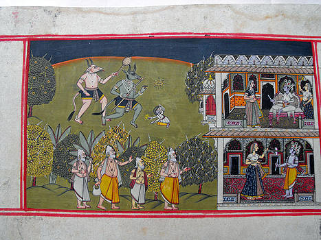 Indian miniature painting on heavy paper representing scenes from the imperial palace by Anonymous Indian artist