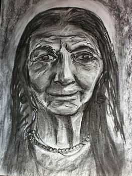 Indian old woman by Manolia Michalogiannaki