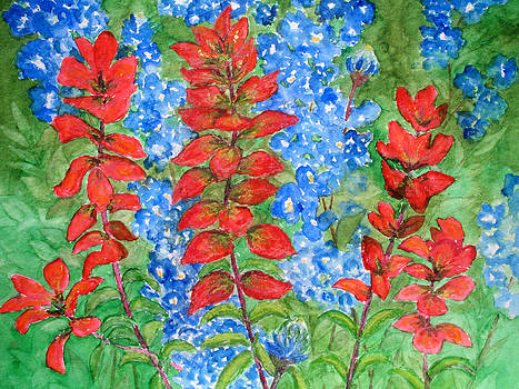 Patricia Beebe - Indian Paintbrush and Bluebonnets