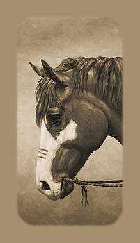 Crista Forest - Indian Pony War Horse Sepia Phone Case