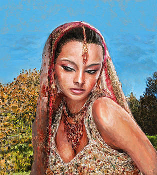 Indian Woman In Garden by K I M