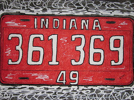 Indiana 1949 License Platee by Kathy Marrs Chandler