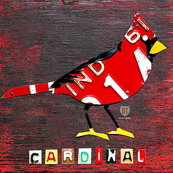 Design Turnpike - Indiana Cardinal Bird Recycled Vintage License Plate Art