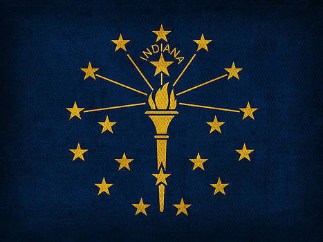 Design Turnpike - Indiana State Flag Art on Worn Canvas
