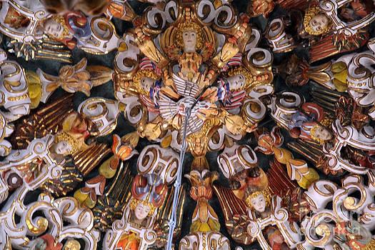 Indigenous Baroque Ceiling Medallion Tonantzintla Mexico by Linda Queally