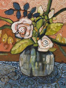 Indigo and Orange Floral by Jen Norton